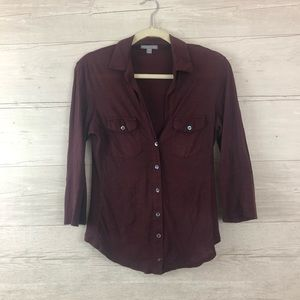 James Perse Los Angeles Casual Purple Button Down